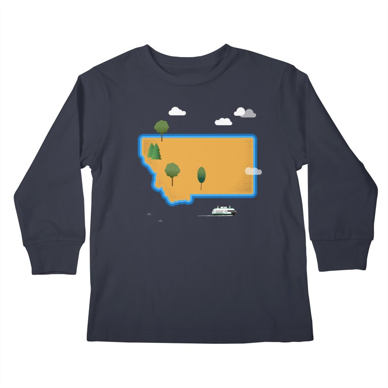 Montana Island Kids Longsleeve T-Shirt by Illustrations by Phil
