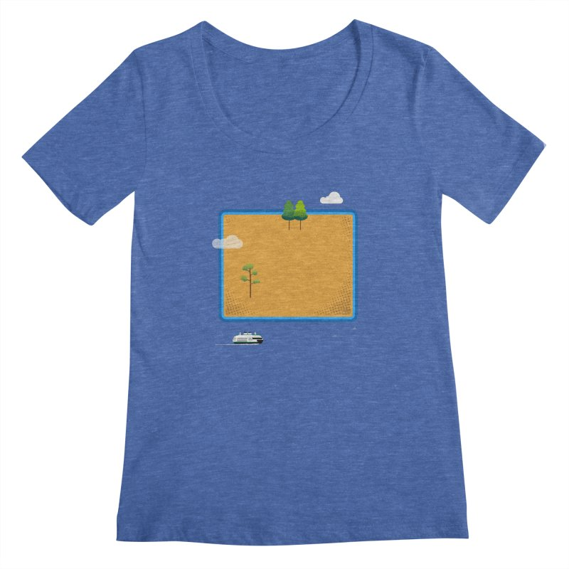 Wyoming Island Women's Regular Scoop Neck by Illustrations by Phil