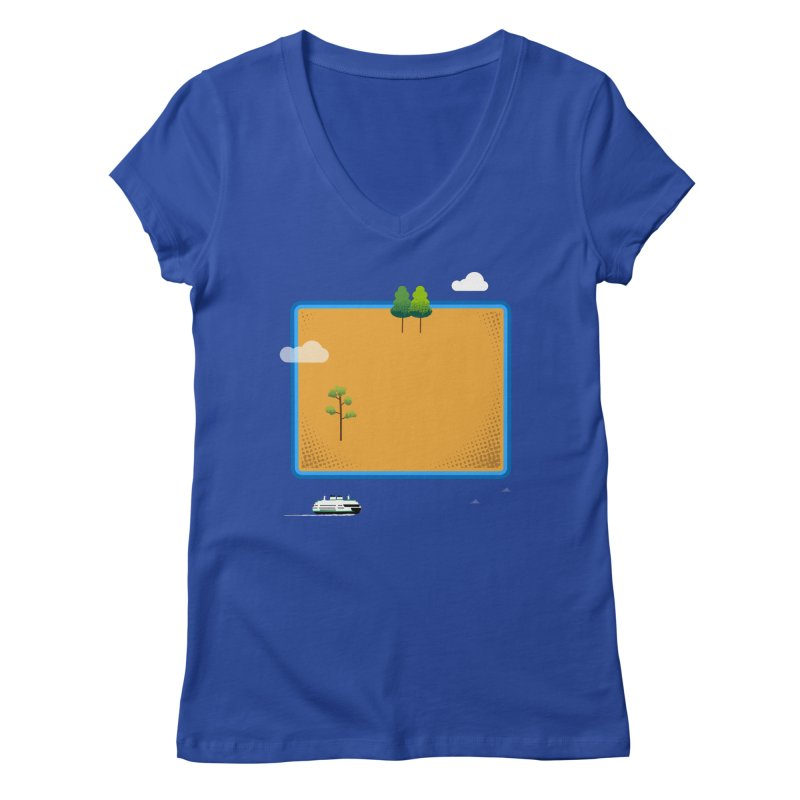 Wyoming Island Women's Regular V-Neck by Illustrations by Phil