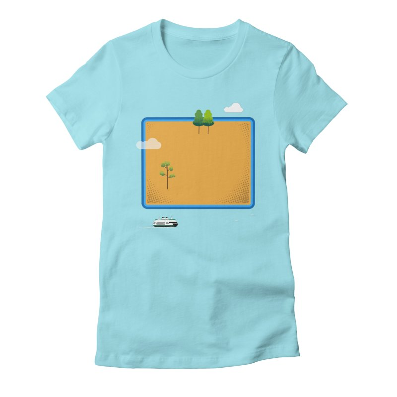 Wyoming Island Women's Fitted T-Shirt by Illustrations by Phil