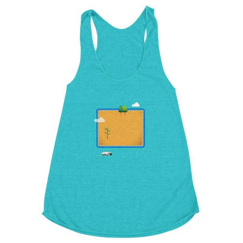 Wyoming Island Women's Racerback Triblend Tank by Illustrations by Phil