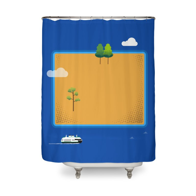 Wyoming Island Home Shower Curtain by Illustrations by Phil
