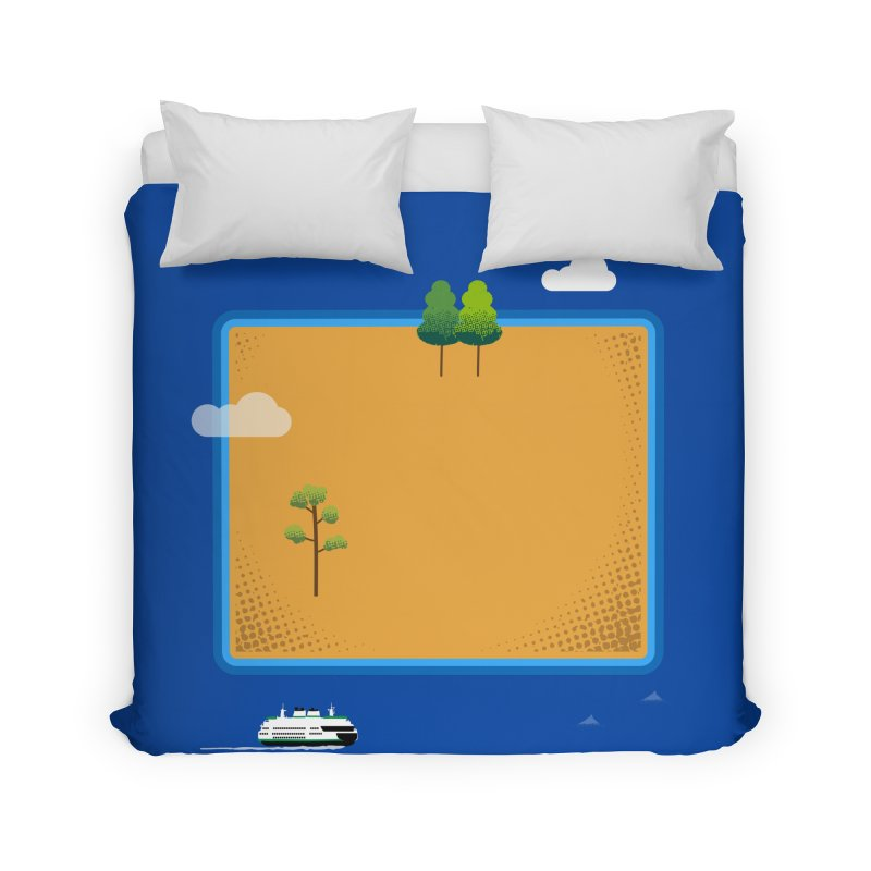 Wyoming Island Home Duvet by Illustrations by Phil