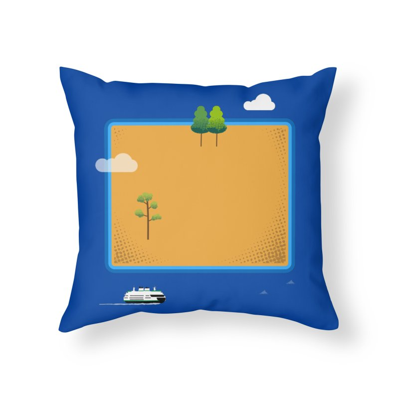 Wyoming Island Home Throw Pillow by Illustrations by Phil
