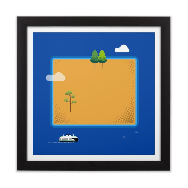 Wyoming Island Home Framed Fine Art Print by Illustrations by Phil