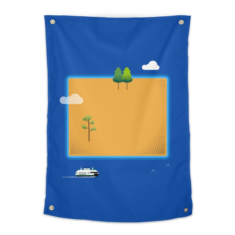 Wyoming Island Home Tapestry by Illustrations by Phil