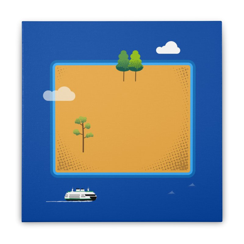 Wyoming Island Home Stretched Canvas by Illustrations by Phil