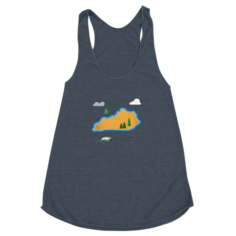 Kentucky Island Women's Racerback Triblend Tank by Illustrations by Phil