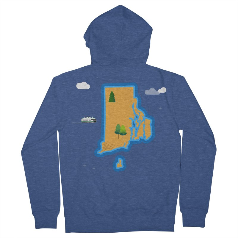 Rhode Island island Women's French Terry Zip-Up Hoody by Illustrations by Phil