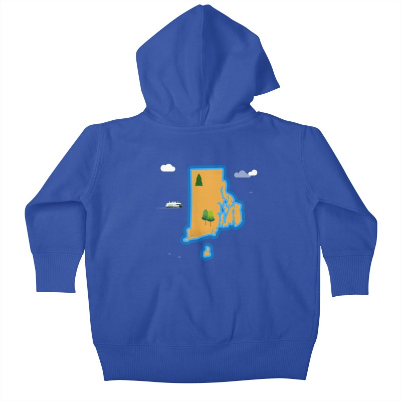 Rhode Island island Kids Baby Zip-Up Hoody by Illustrations by Phil