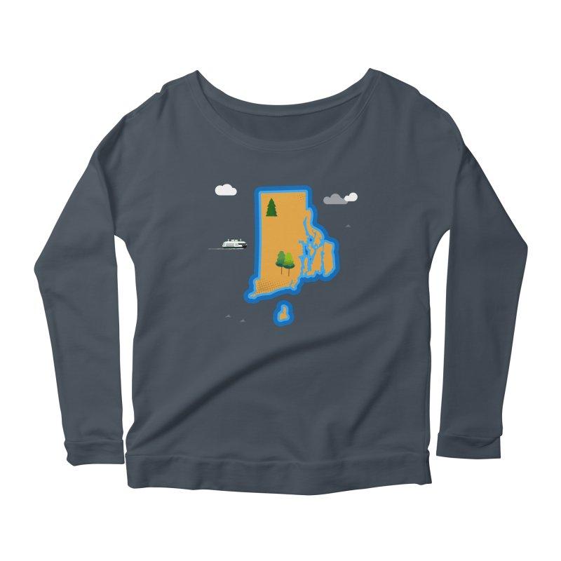 Rhode Island island Women's Scoop Neck Longsleeve T-Shirt by Illustrations by Phil