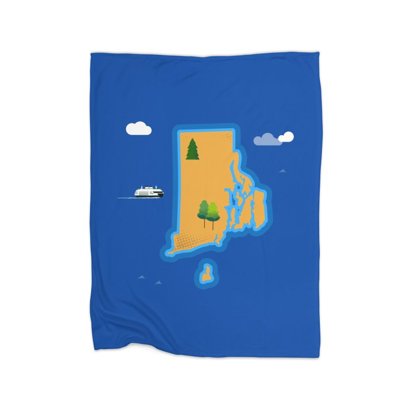 Rhode Island island Home Blanket by Illustrations by Phil