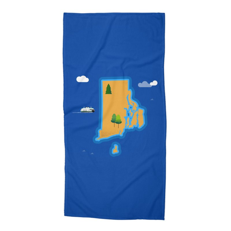 Rhode Island island Accessories Beach Towel by Illustrations by Phil