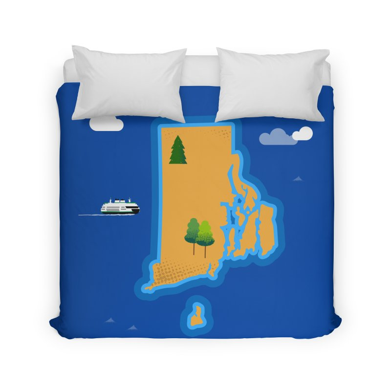 Rhode Island island Home Duvet by Illustrations by Phil