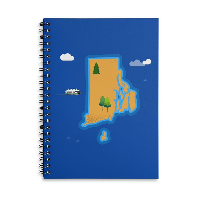Rhode Island island Accessories Lined Spiral Notebook by Illustrations by Phil