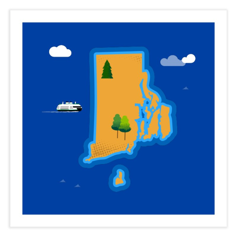 Rhode Island island Home Fine Art Print by Illustrations by Phil