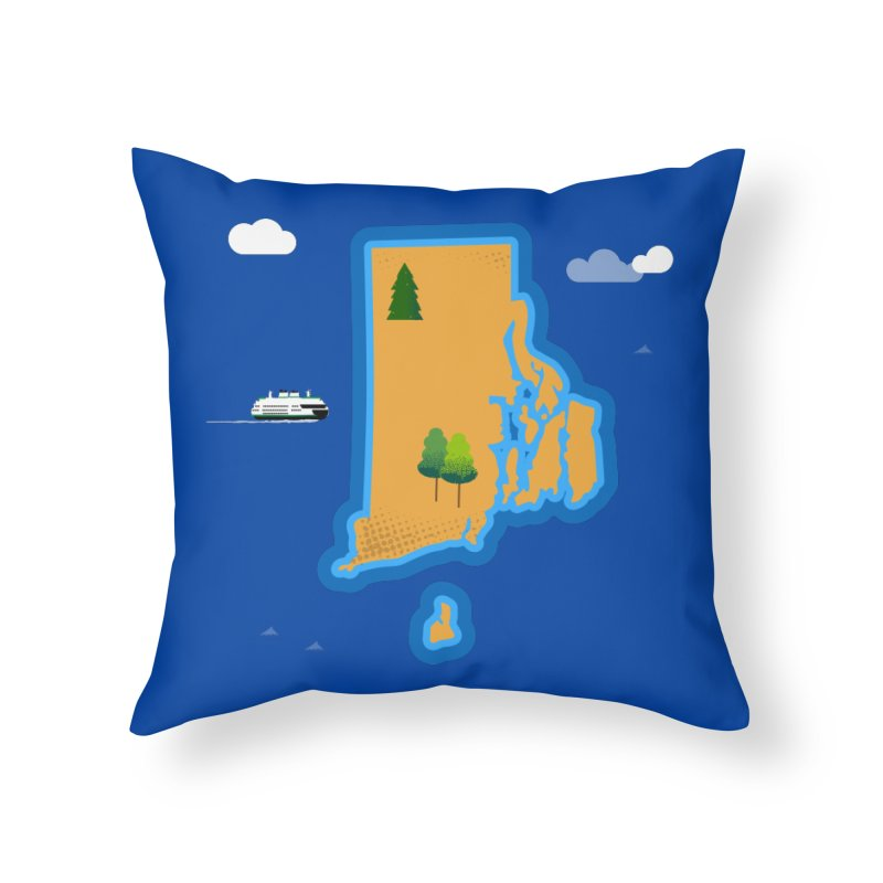 Rhode Island island Home Throw Pillow by Illustrations by Phil