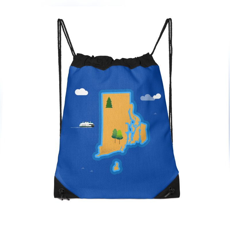 Rhode Island island Accessories Drawstring Bag Bag by Illustrations by Phil