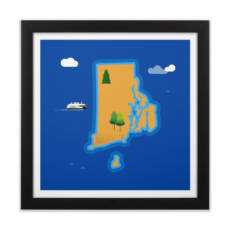 Rhode Island island Home Framed Fine Art Print by Illustrations by Phil