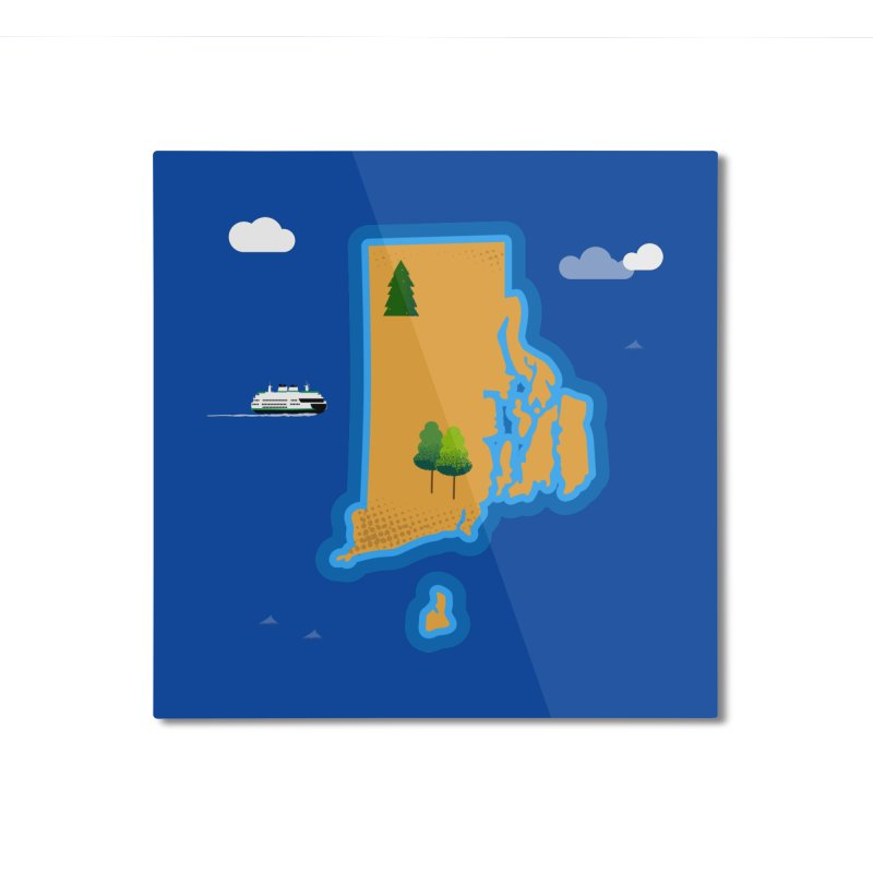 Rhode Island island Home Mounted Aluminum Print by Illustrations by Phil