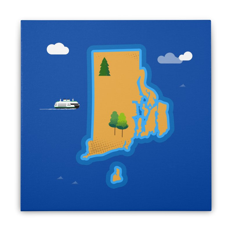 Rhode Island island Home Stretched Canvas by Illustrations by Phil