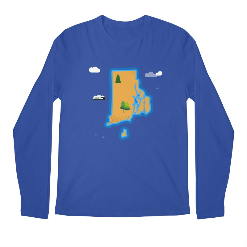 Rhode Island island Men's Regular Longsleeve T-Shirt by Illustrations by Phil