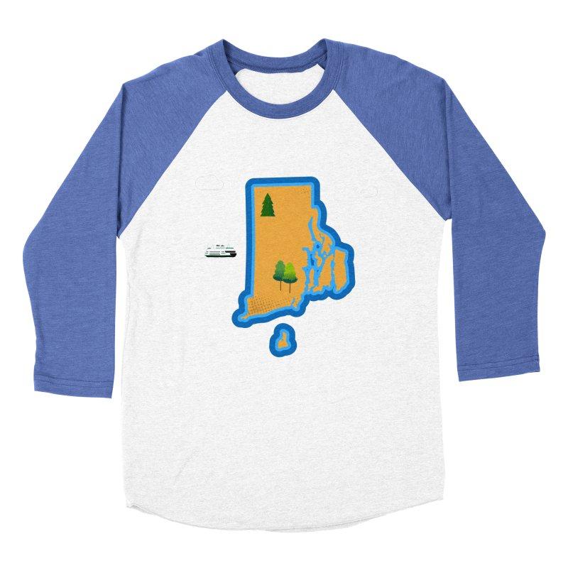 Rhode Island island Men's Baseball Triblend Longsleeve T-Shirt by Illustrations by Phil