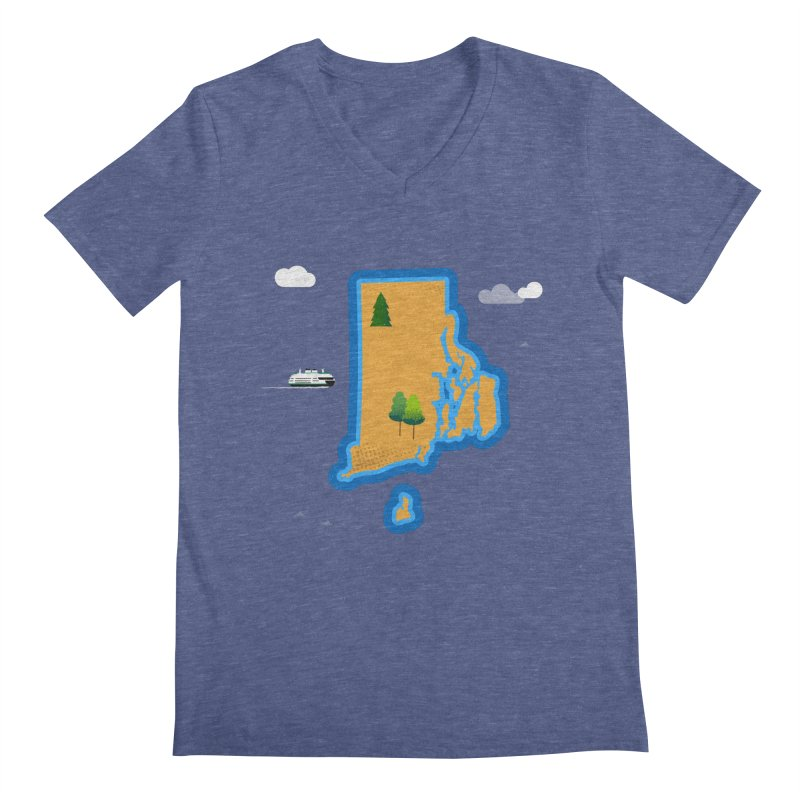 Rhode Island island Men's Regular V-Neck by Illustrations by Phil