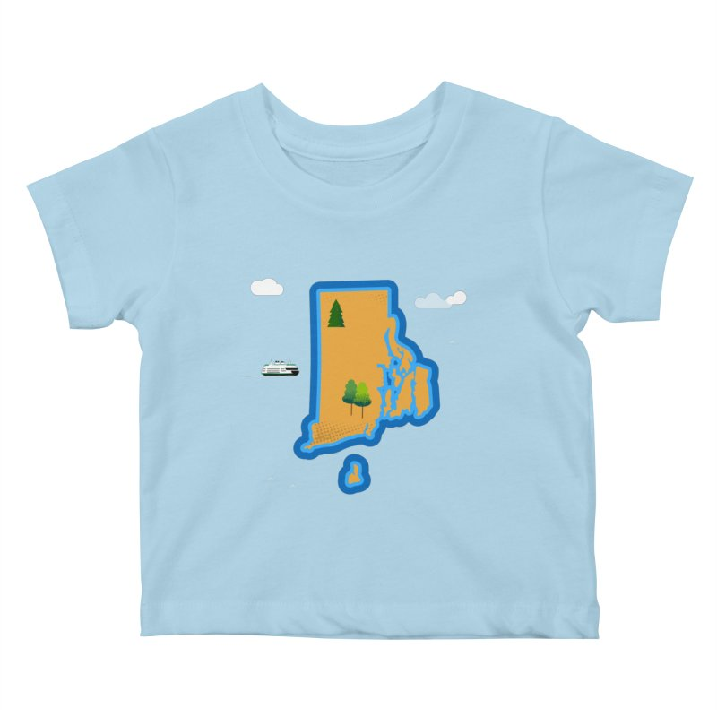 Rhode Island island Kids Baby T-Shirt by Illustrations by Phil