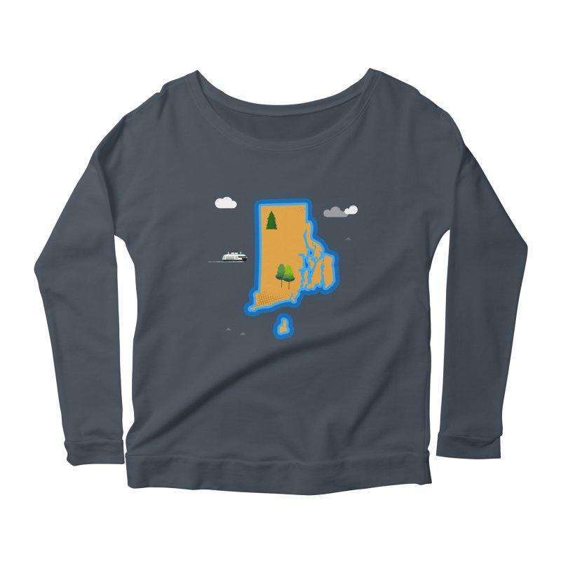 Rhode Island island Women's Scoop Neck Longsleeve T-Shirt by Illustrations by Phil