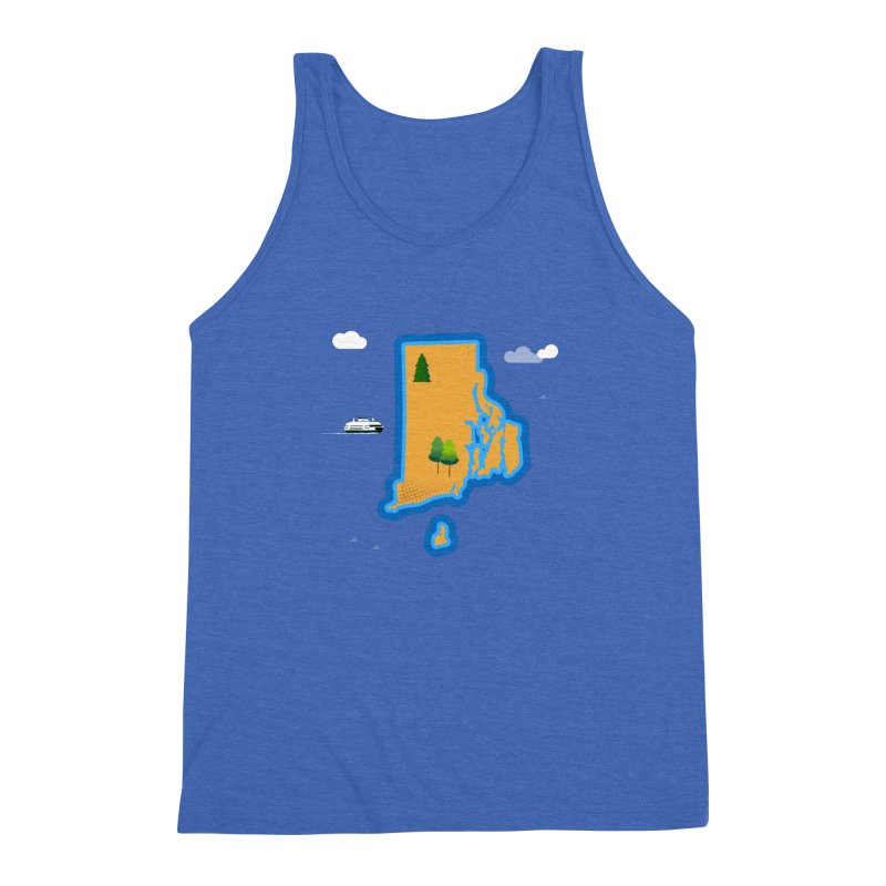 Rhode Island island Men's Triblend Tank by Illustrations by Phil
