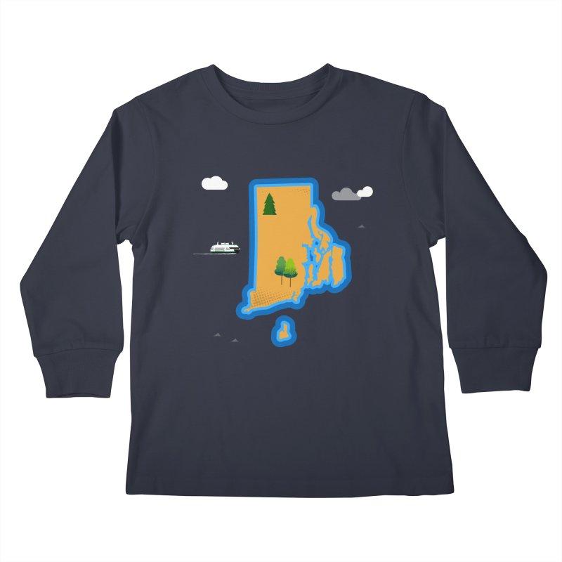 Rhode Island island Kids Longsleeve T-Shirt by Illustrations by Phil