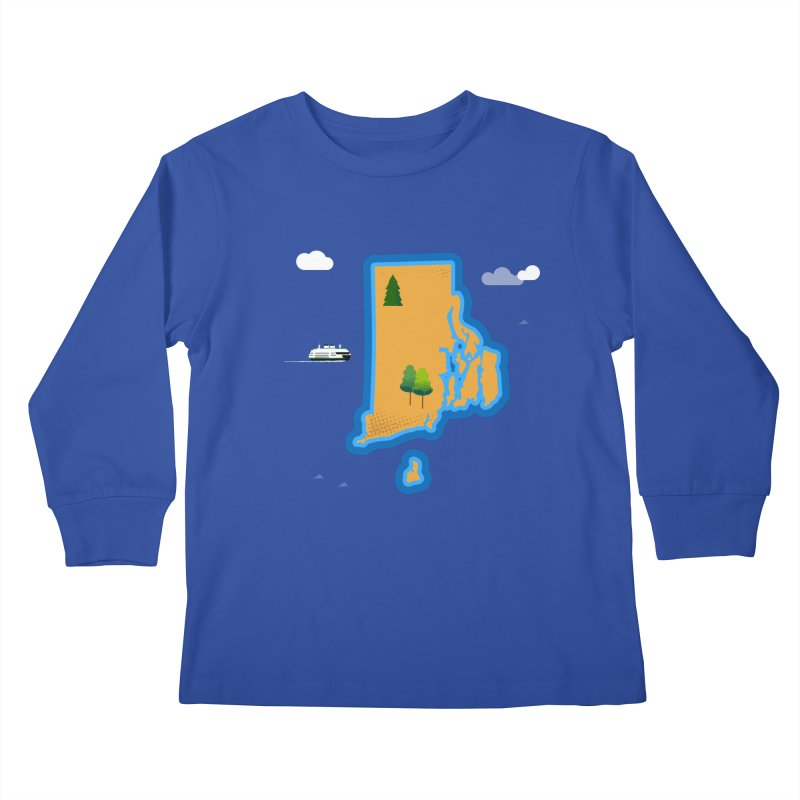 Rhode Island island Kids Longsleeve T-Shirt by Illustrations by Phil