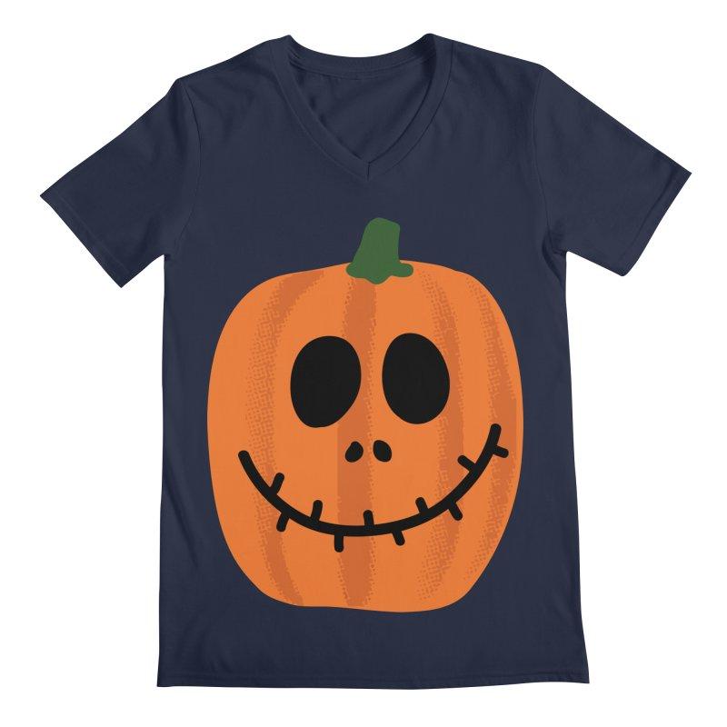 Happy Pumpkin Men's Regular V-Neck by Illustrations by Phil