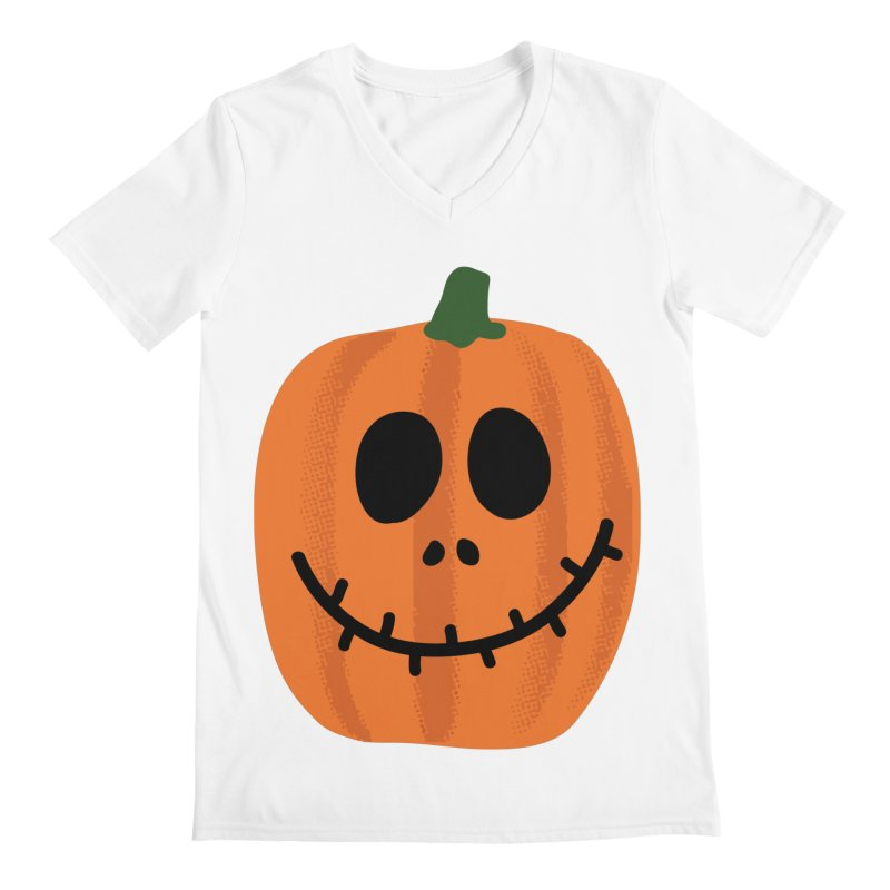 Happy Pumpkin Men's Regular V-Neck by Illustrations by Phil
