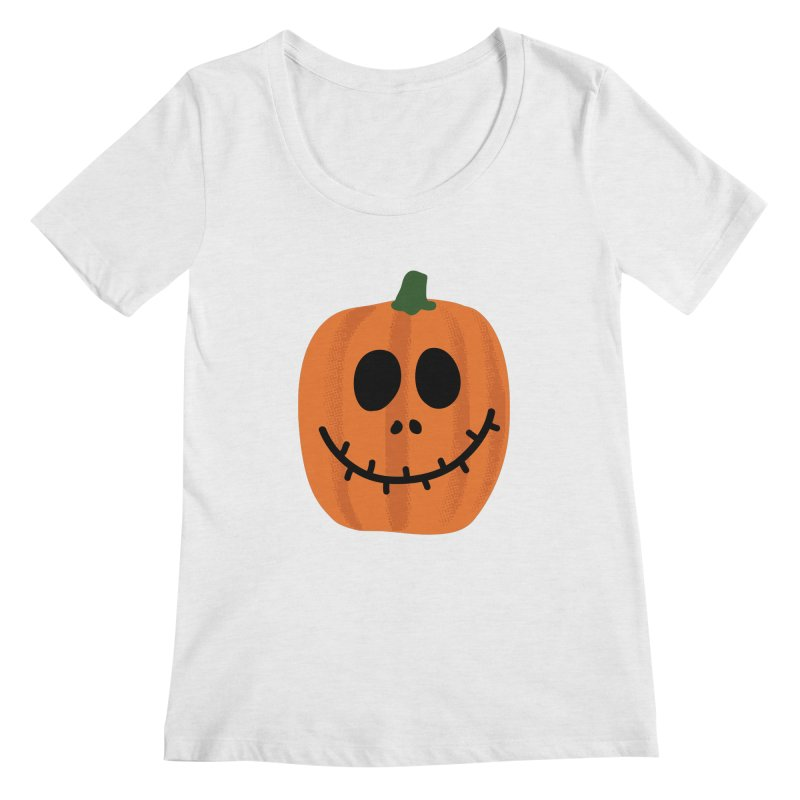 Happy Pumpkin Women's Regular Scoop Neck by Illustrations by Phil