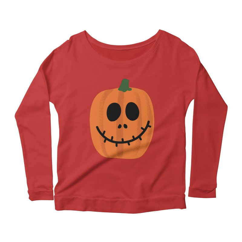 Happy Pumpkin Women's Scoop Neck Longsleeve T-Shirt by Illustrations by Phil