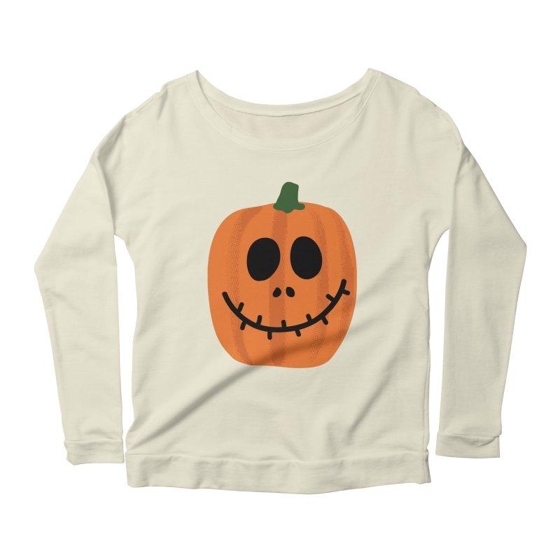 Happy Pumpkin Women's Scoop Neck Longsleeve T-Shirt by Illustrations by Phil