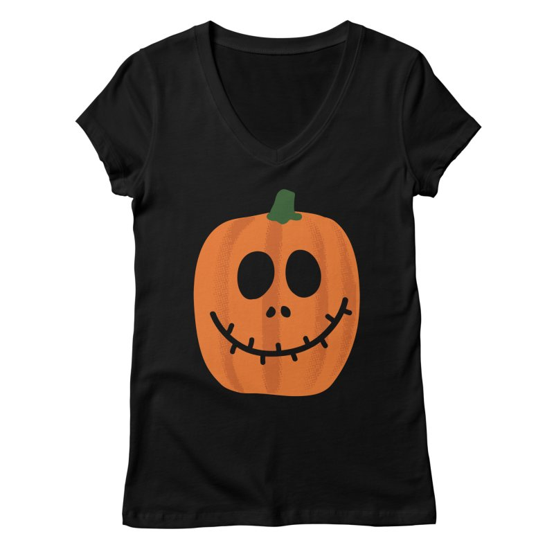 Happy Pumpkin Women's V-Neck by Illustrations by Phil