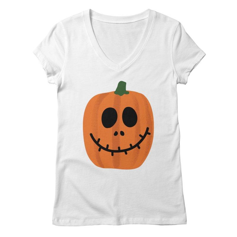 Happy Pumpkin Women's Regular V-Neck by Illustrations by Phil