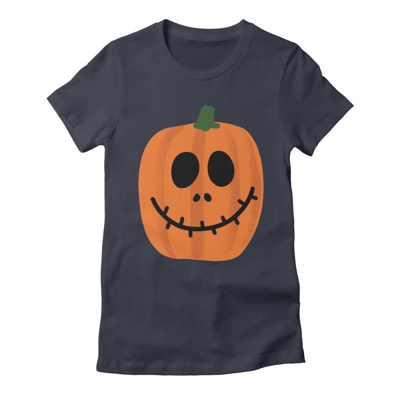 Happy Pumpkin Women's Fitted T-Shirt by Illustrations by Phil