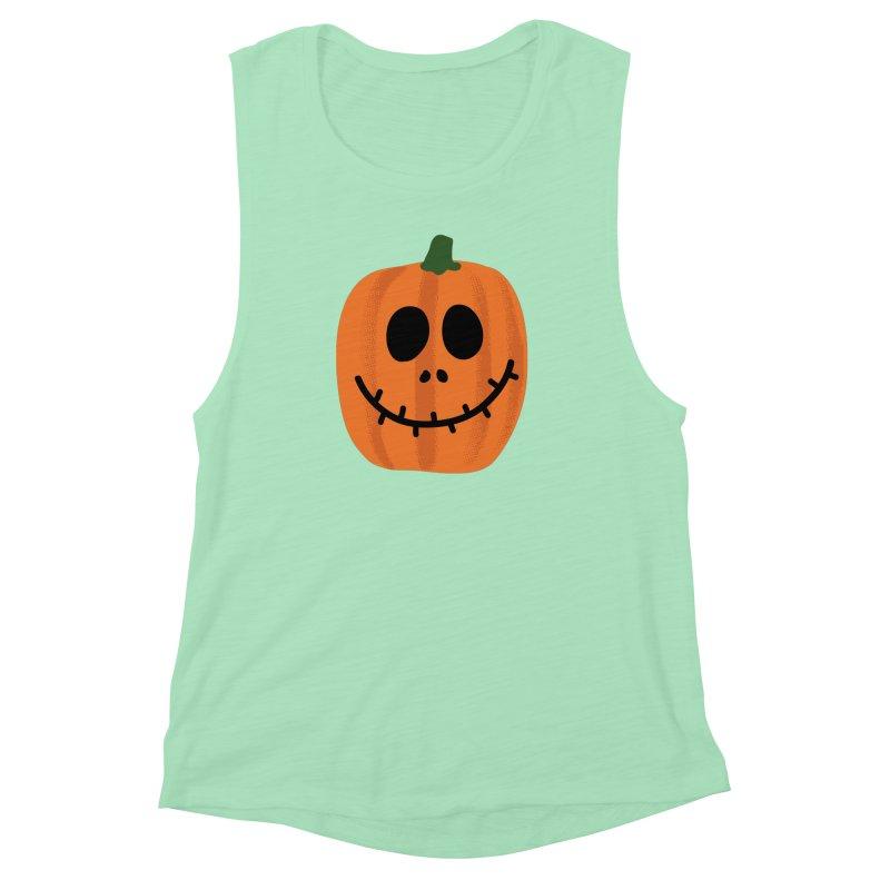 Happy Pumpkin Women's Muscle Tank by Illustrations by Phil