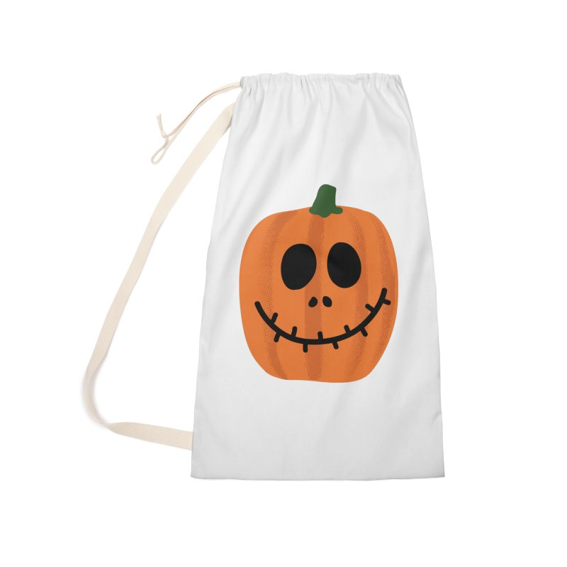 Happy Pumpkin Accessories Laundry Bag Bag by Illustrations by Phil