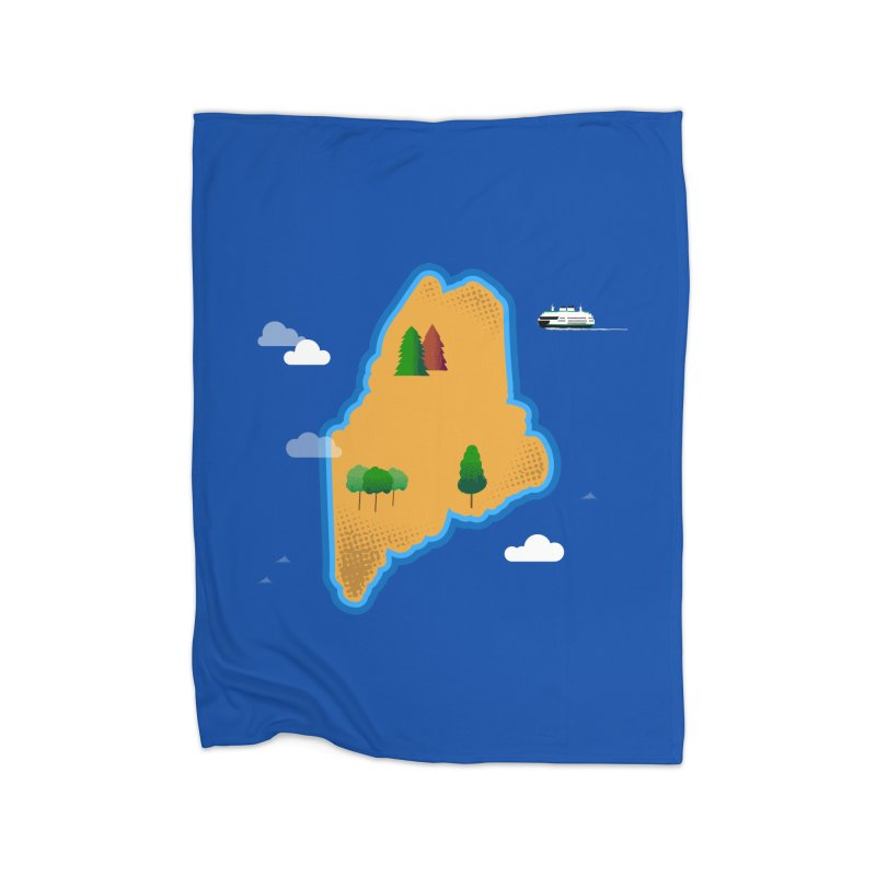 Maine Island Home Blanket by Illustrations by Phil
