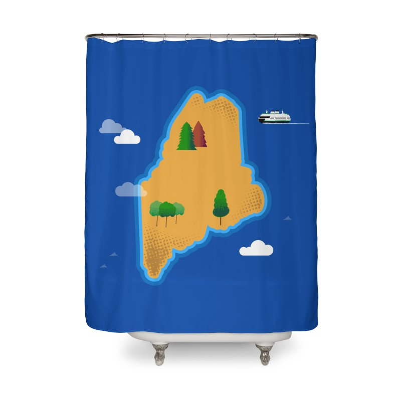Maine Island Home Shower Curtain by Illustrations by Phil