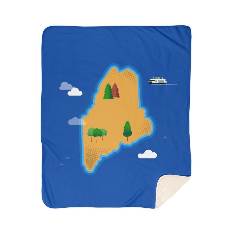 Maine Island Home Sherpa Blanket Blanket by Illustrations by Phil