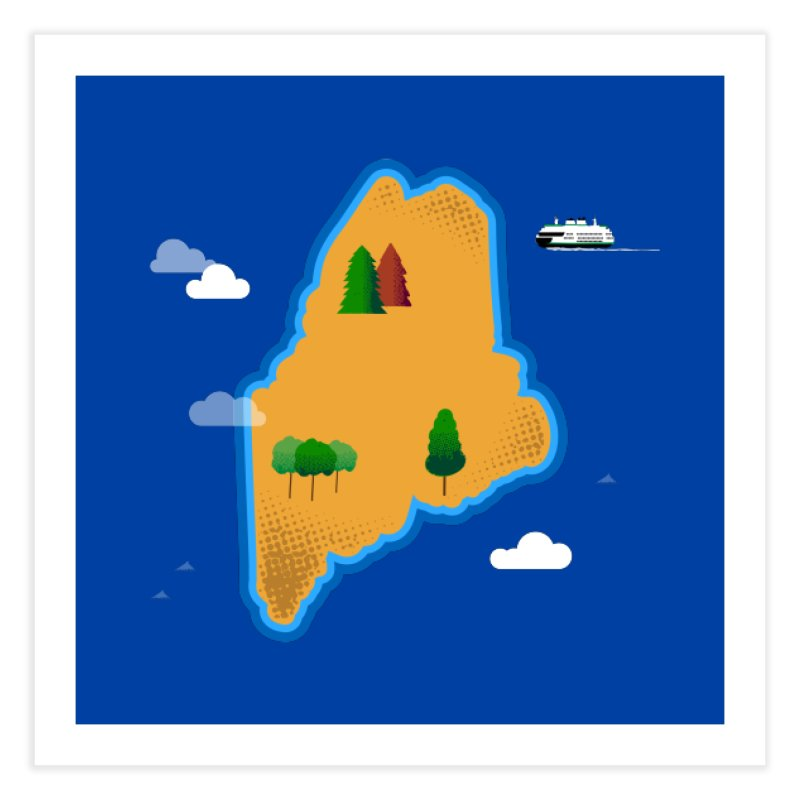 Maine Island Home Fine Art Print by Illustrations by Phil