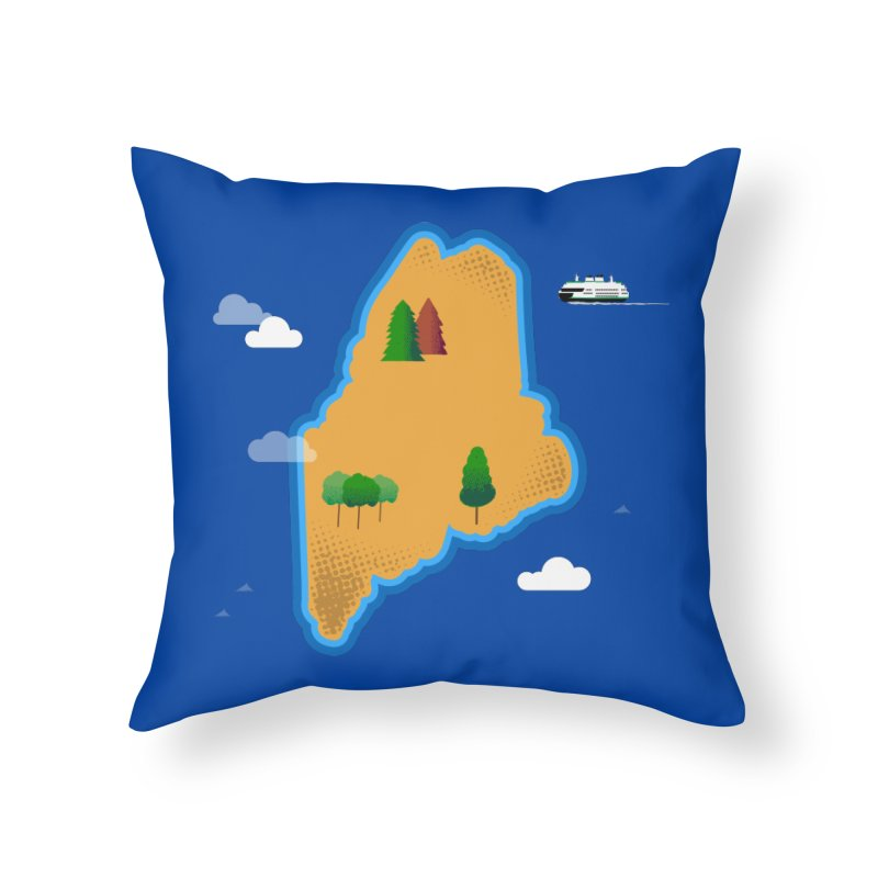 Maine Island Home Throw Pillow by Illustrations by Phil