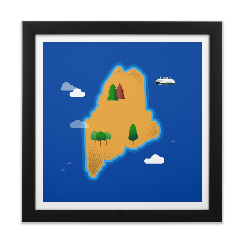 Maine Island Home Framed Fine Art Print by Illustrations by Phil