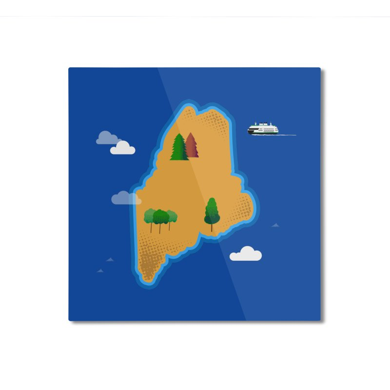Maine Island Home Mounted Aluminum Print by Illustrations by Phil